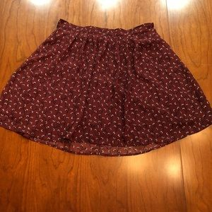 Old Navy Maroon Floral Stretchy Skirt